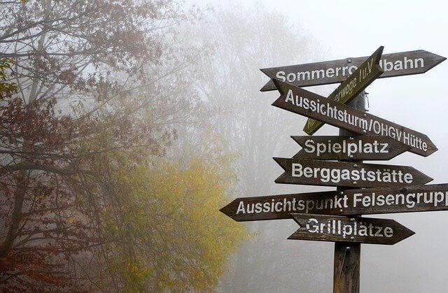 森の中にあるいくつもの道標
