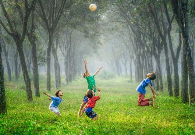4人の子どもがボールを使って森であそんでいる