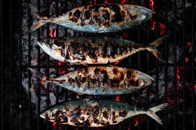 表面がしっかり焼けている魚が4尾並んで網で焼かれている