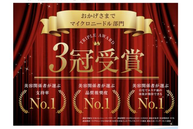 公式サイトの3冠受賞の文字