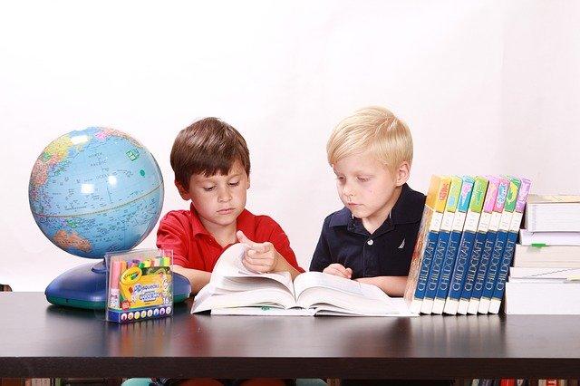 兄弟で学校の勉強をしている