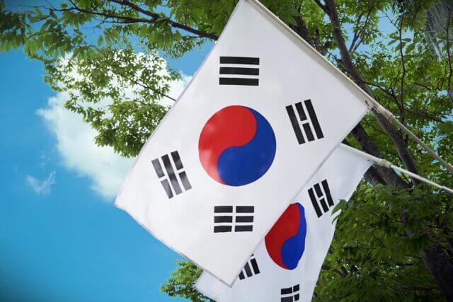 韓国の国旗が木の前に2本ある
